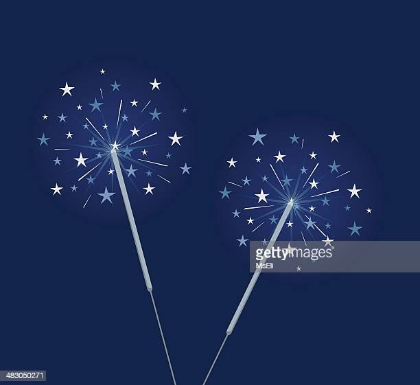 blue sparklers - sparks stock illustrations, clip art, cartoons, & icons