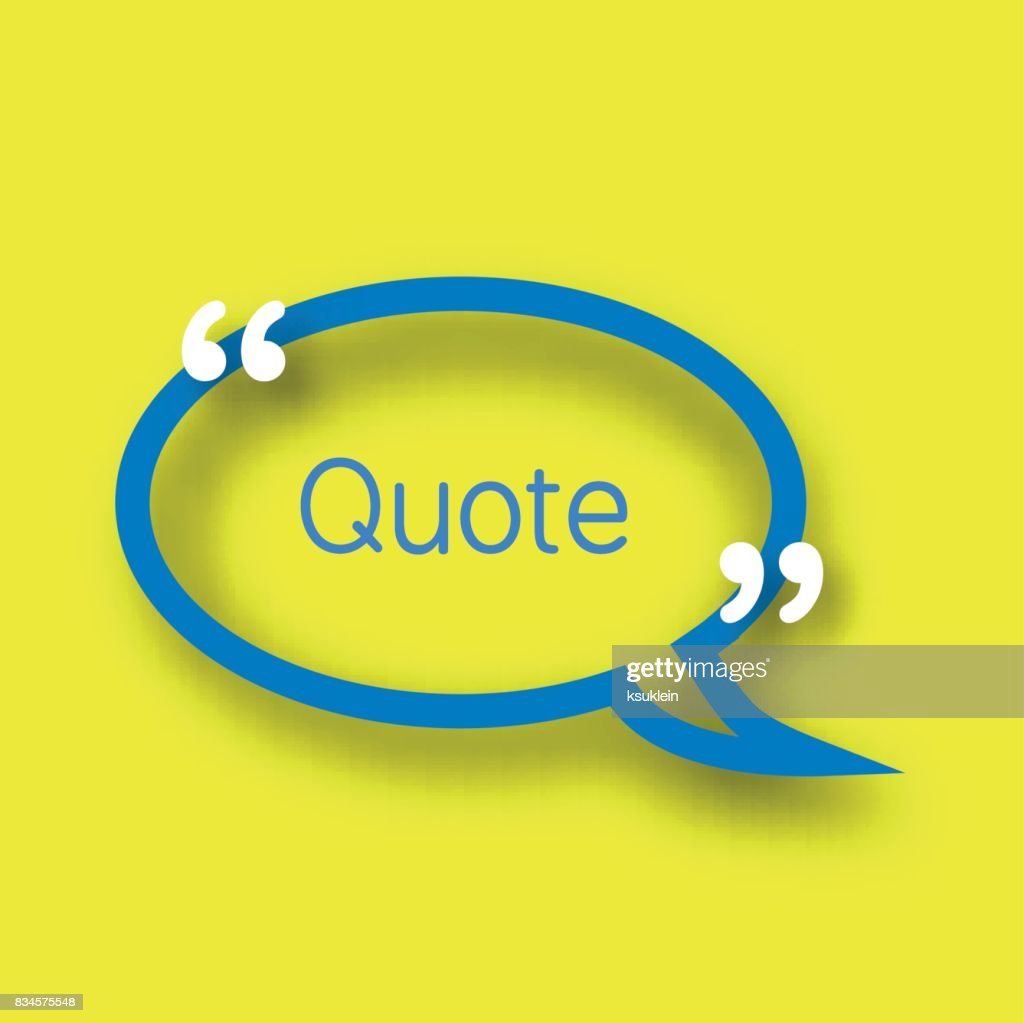 Blue Speech Bubble Template In Realistic Style On Bright Yellow