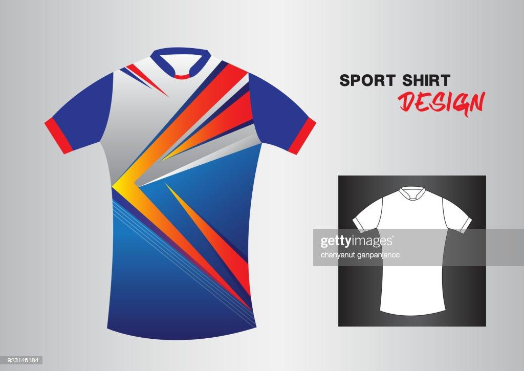 Blue Sport Shirt Design Template For Soccer Jersey Football