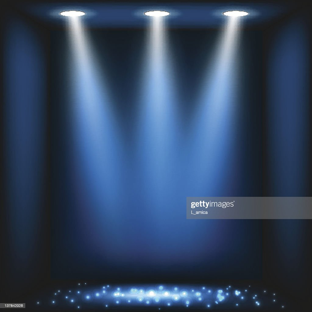 Blue stage lights abstract background