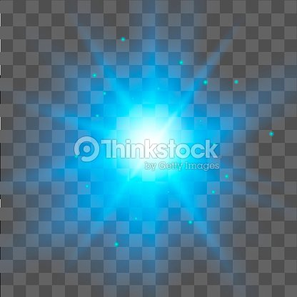 Blue Star Light Effect On Transpa Background Glow Vector