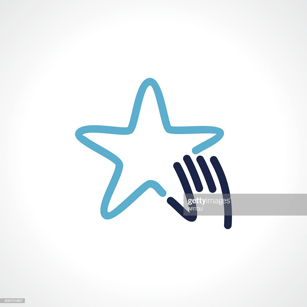 blue star outline with hand