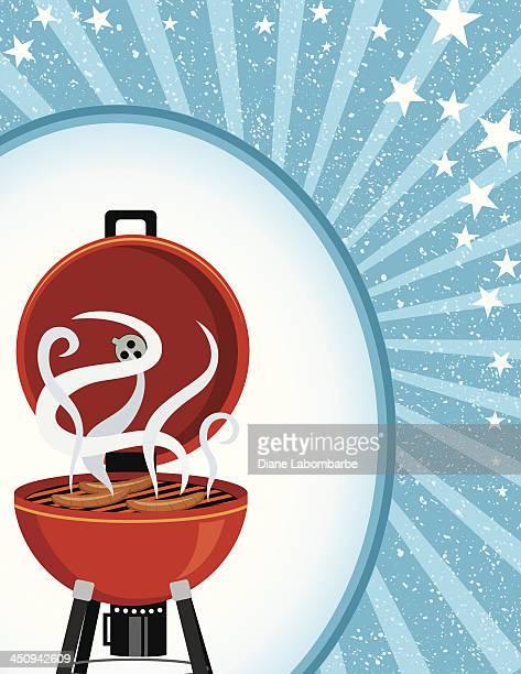 ilustraciones, imágenes clip art, dibujos animados e iconos de stock de azul starburst plantilla de barbacoa - smoke