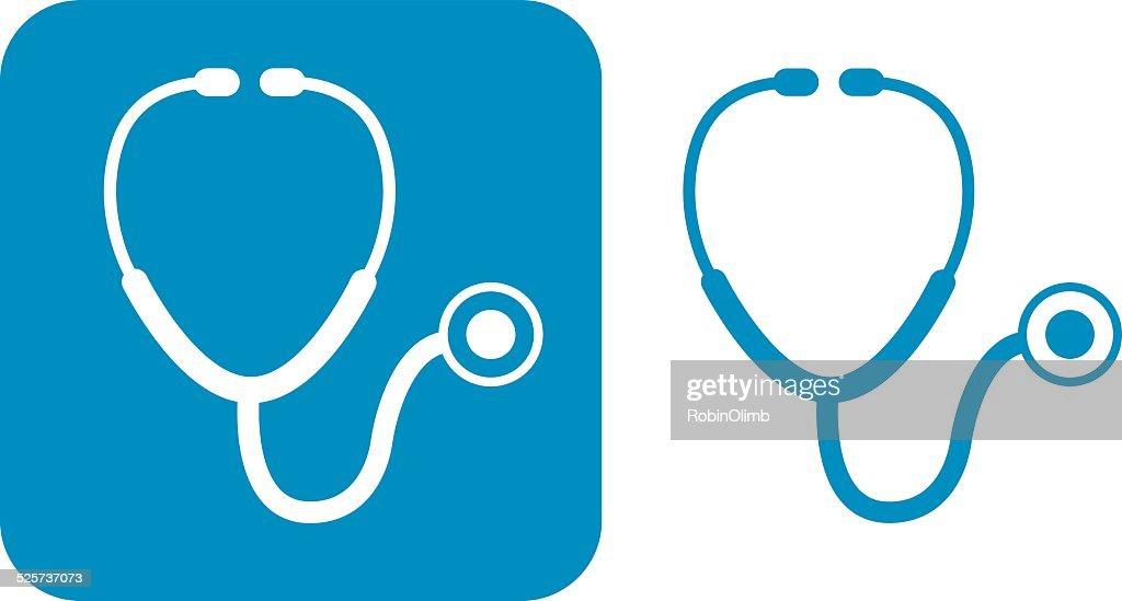 Estetoscópio azul ícones : Ilustração