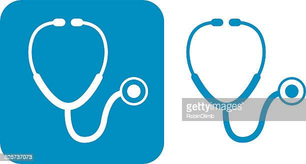 illustrazioni stock, clip art, cartoni animati e icone di tendenza di stetoscopio icone blu - stetoscopio