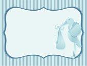Blue Stork Baby Boy Card