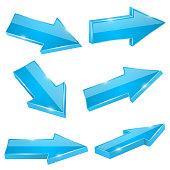 Blue straight arrows. Web 3d shiny icons