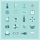 Blue Summer, Naval, and beach icons set