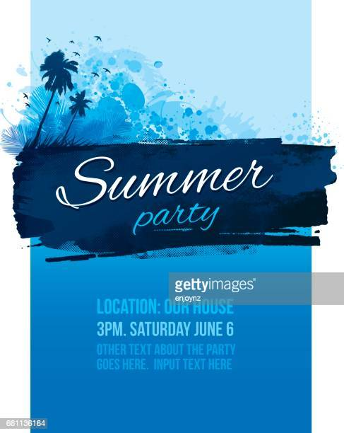 blauer sommer party plakat einladung - party stock-grafiken, -clipart, -cartoons und -symbole