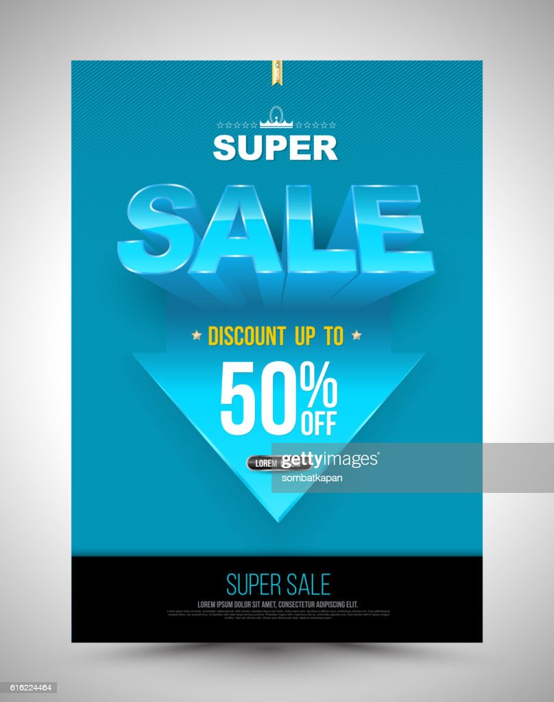 Blue super sale poster discount up to 50 percent : Vector Art
