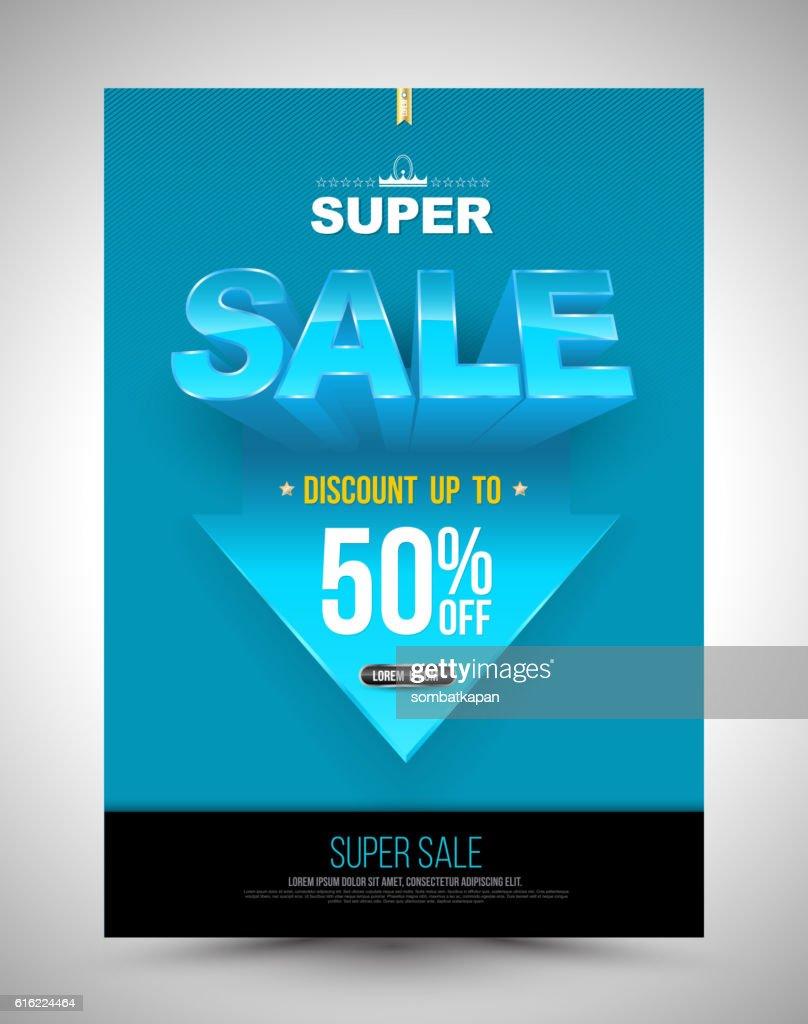 Blue super sale poster discount up to 50 percent : Vektorgrafik