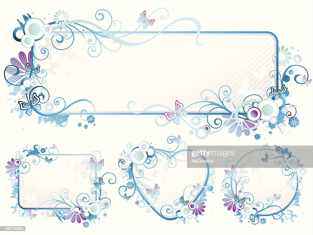 Blue swirls text frame set