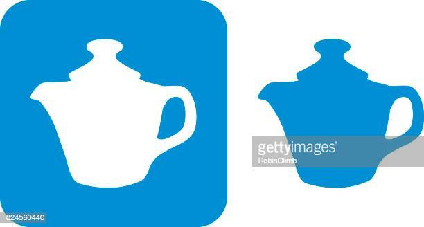 blue tea pot icon 6 - steeping stock illustrations, clip art, cartoons, & icons
