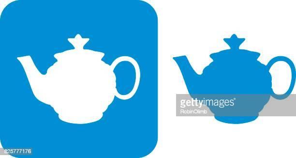 blue tea pot icons 8 - steeping stock illustrations, clip art, cartoons, & icons