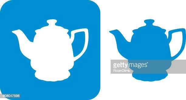 blue teapot icon - steeping stock illustrations, clip art, cartoons, & icons