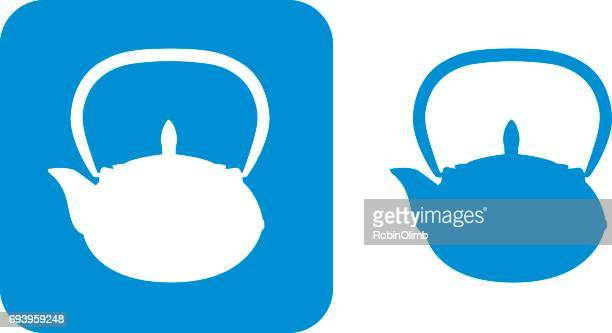 blue teapot icons 2 - steeping stock illustrations, clip art, cartoons, & icons