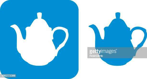 blue teapot icons - steeping stock illustrations, clip art, cartoons, & icons