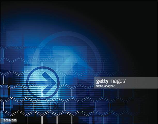 blue technical background - two dimensional shape stock illustrations