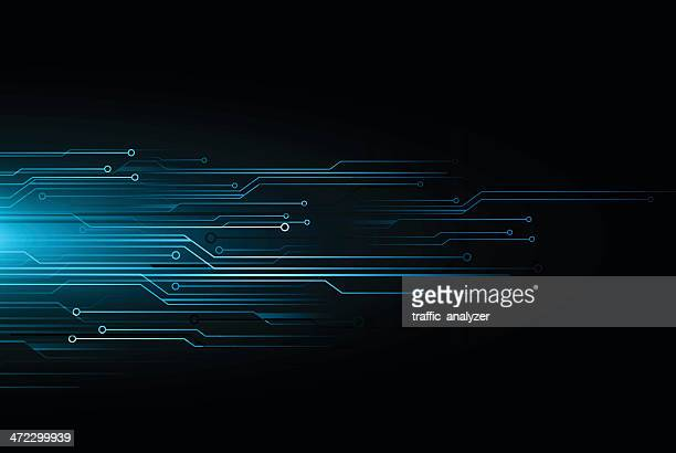 blue technical background - computer chip stock illustrations