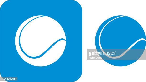 blue tennis ball icons - tennis stock illustrations