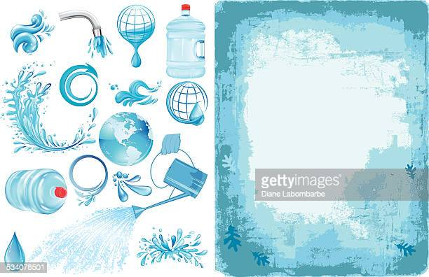 blue texture background with water elements - jug stock illustrations, clip art, cartoons, & icons