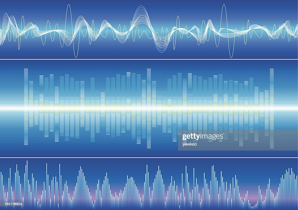 Blue themed graphical representations of sound