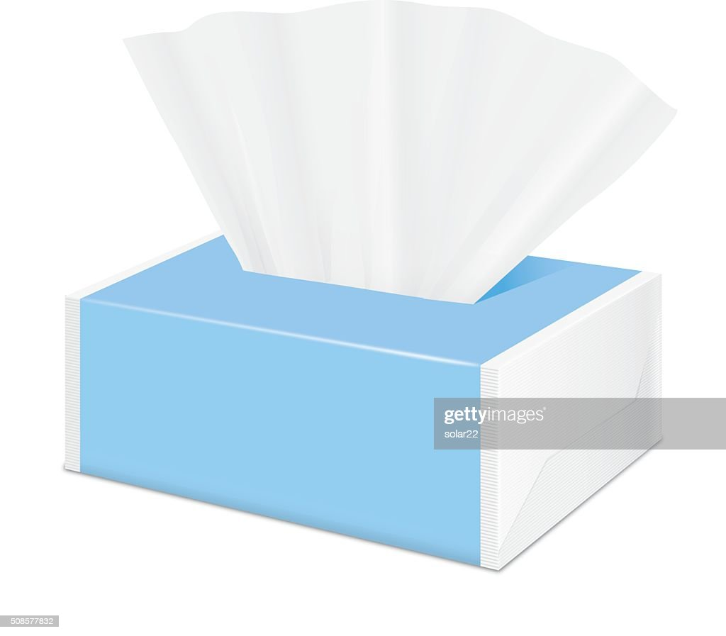 Blue Tissue package by plastic wrap : Vector Art
