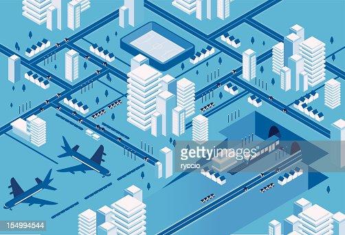 Blue transport city