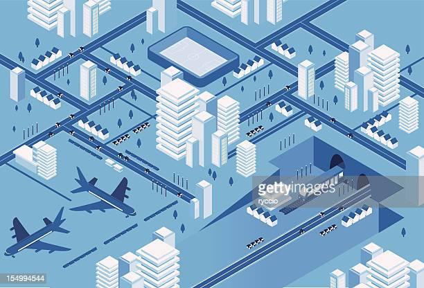 Blue transport Stadt
