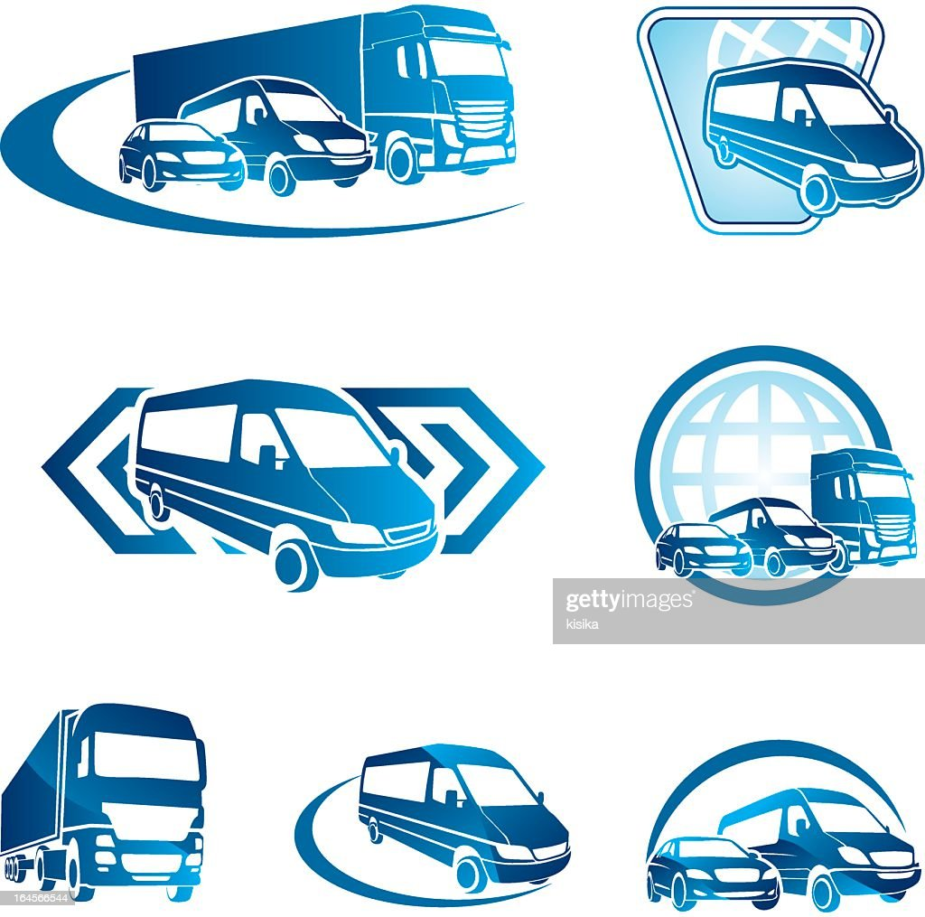 Blue transportation icons on a white background