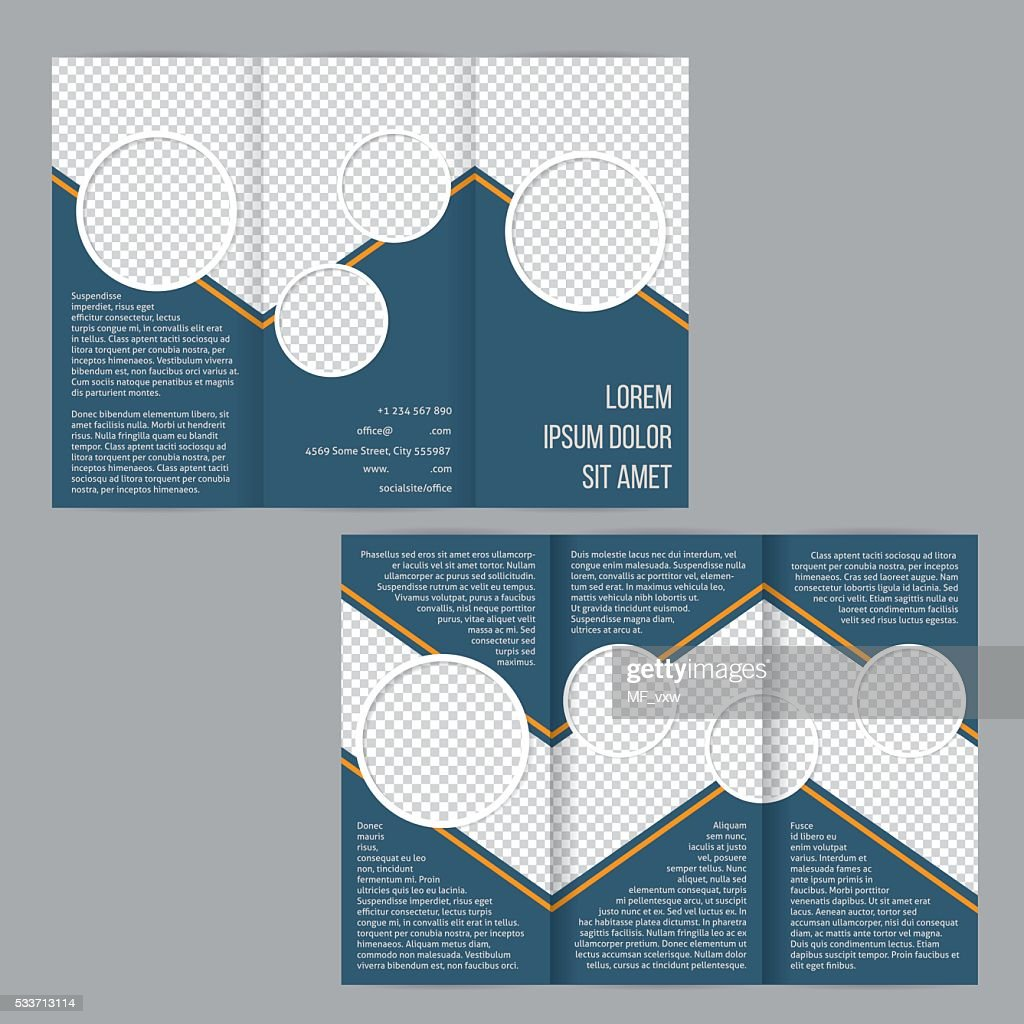 Blue tri-fold flyer brochure template