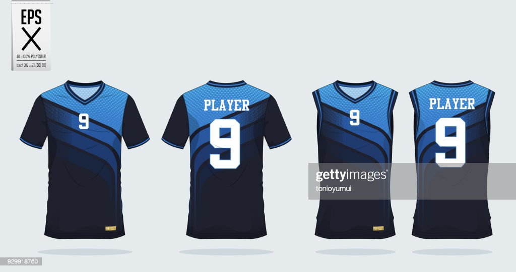 Blue t-shirt sport design template for soccer jersey, football kit and tank top for basketball jersey. Sport uniform in front and back view. Tshirt mock up for sport club. Vector.