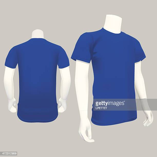 blue t-shirt template - vector illustration - mannequin stock illustrations, clip art, cartoons, & icons