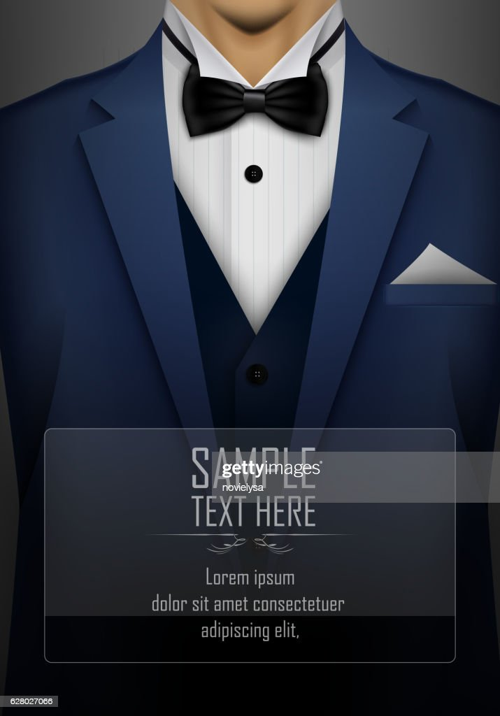 Blue tuxedo with black bow tie