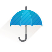 Blue Umbrella Vector Icon Stock