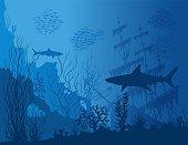 Blue underwater landscape