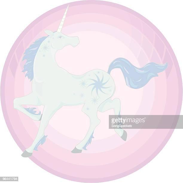 blue unicorn icon - unicorn horn stock illustrations, clip art, cartoons, & icons