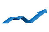 Blue UP arrow. Financial graph