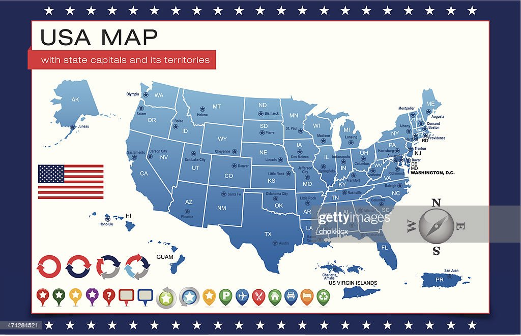 Blue Usa Map Outline With State Capitals And Its Territories Vector