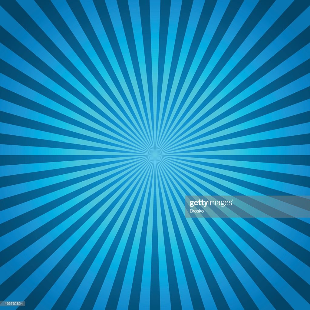 Blue vector background of radial lines. Comic book