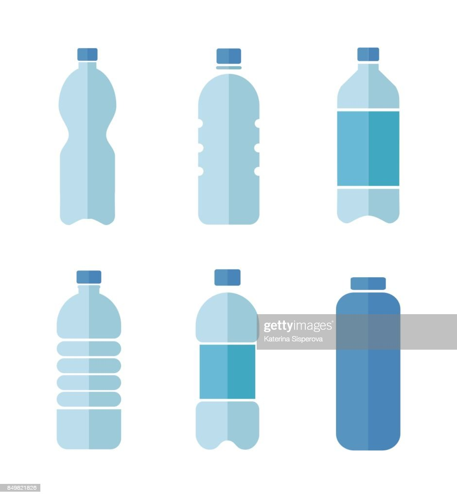 Blue vector flat design icons set of plastic bottles with clean water isolated on white background