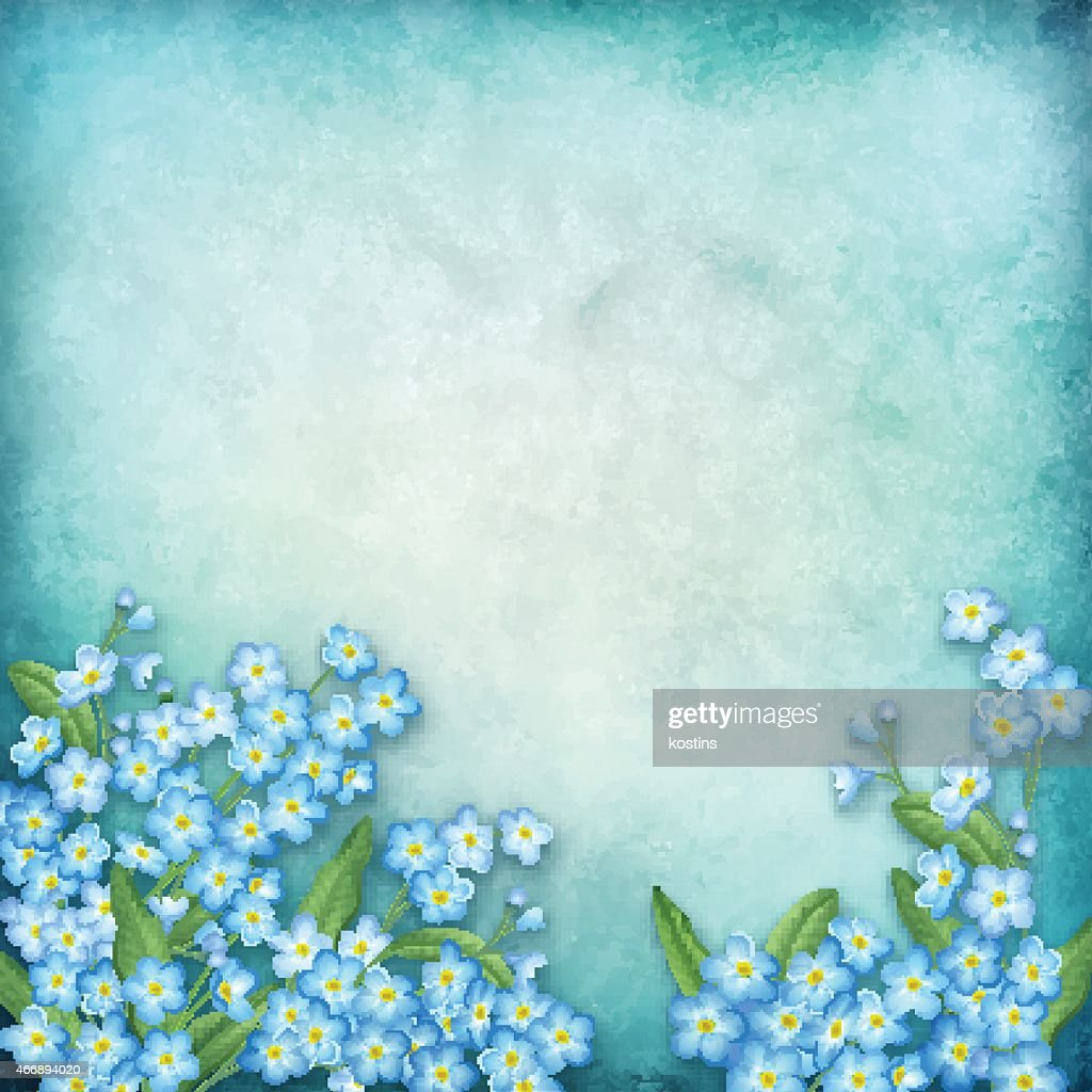 A blue vector floral composition