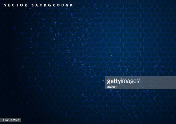 illustrazioni stock, clip art, cartoni animati e icone di tendenza di sfondo della tecnologia esagonale vettoriale blu - sfondo blu