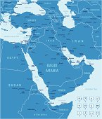 Blue vector Middle East map