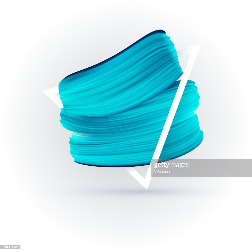 Blue vector paint brush smear on white background
