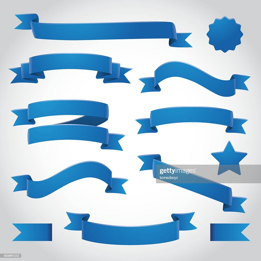 Blue Vector Ribbons Set