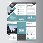 Blue Vector Trifold Leaflet Brochure Flyer template flat design