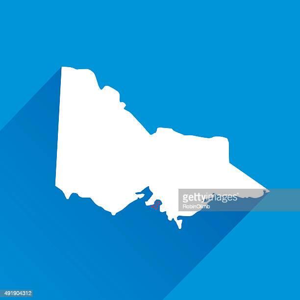 blue victoria map icon - victoria australia stock illustrations