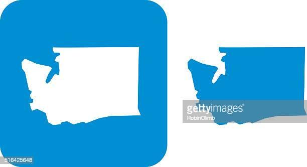 blue washington icons - washington state stock illustrations
