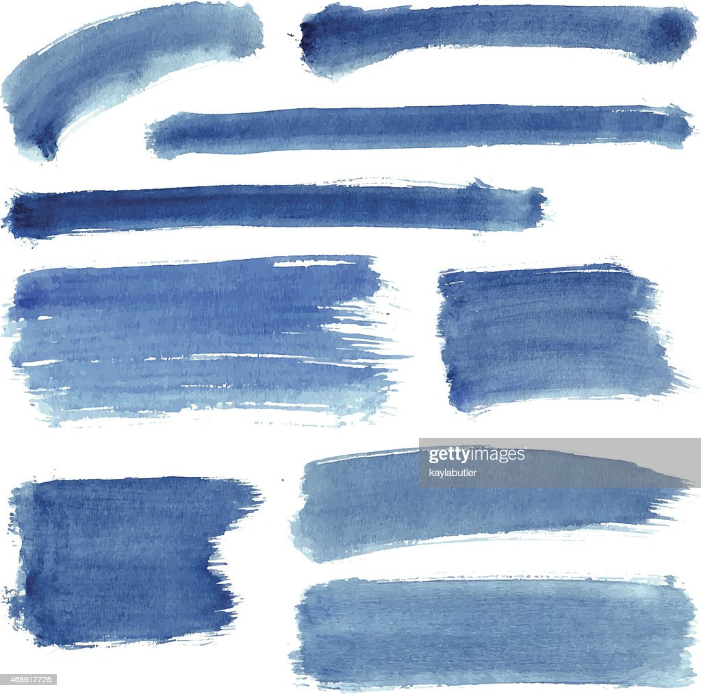 Blue Water Color Stroke Set